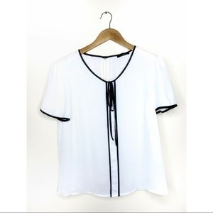 White Short Sleeve Blouse with Black Front Tie